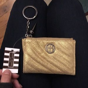 Henri Bendel coin purse keychain, gold, quilted
